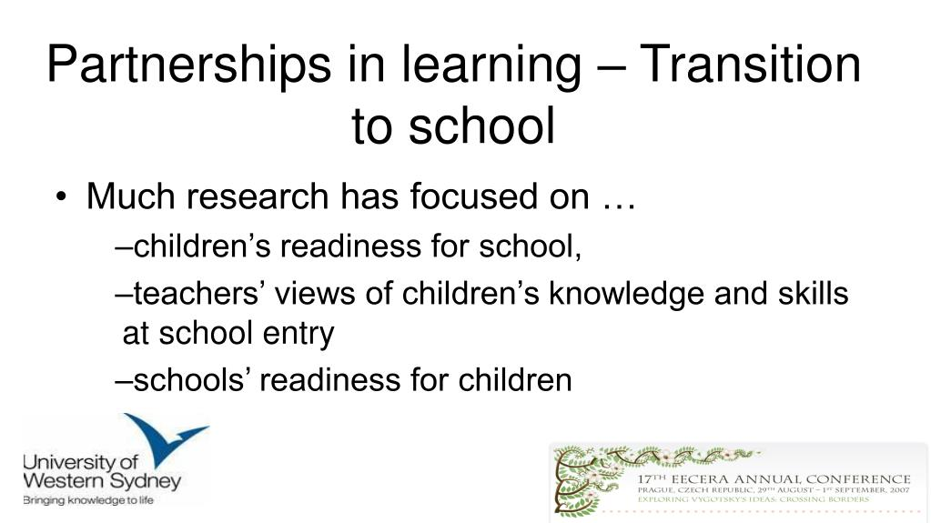 Partnerships in learning – Transition to school