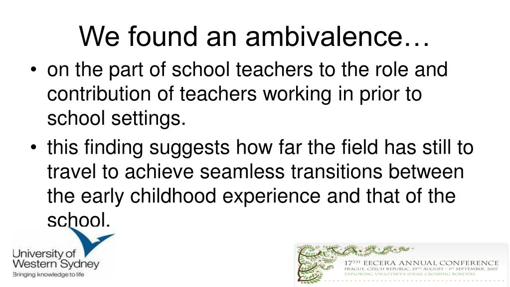 We found an ambivalence…