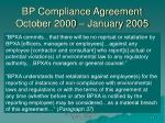 bp compliance agreement october 2000 january 2005