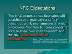 nrc expectations