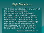 style matters cont d
