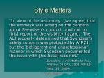 style matters
