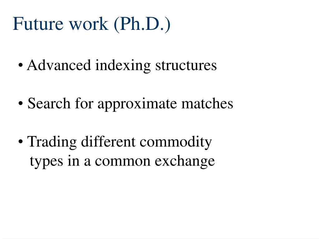 Future work (Ph.D.)