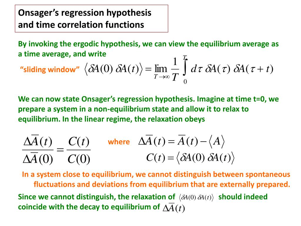 Onsager's regression hypothesis and time correlation functions