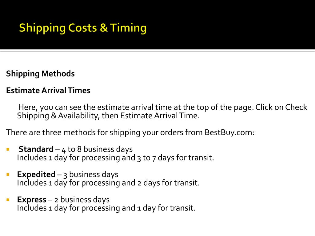 Shipping Costs & Timing