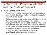 lecture 13 professional ethics and the code of conduct31