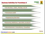 business activities for franchisee 3
