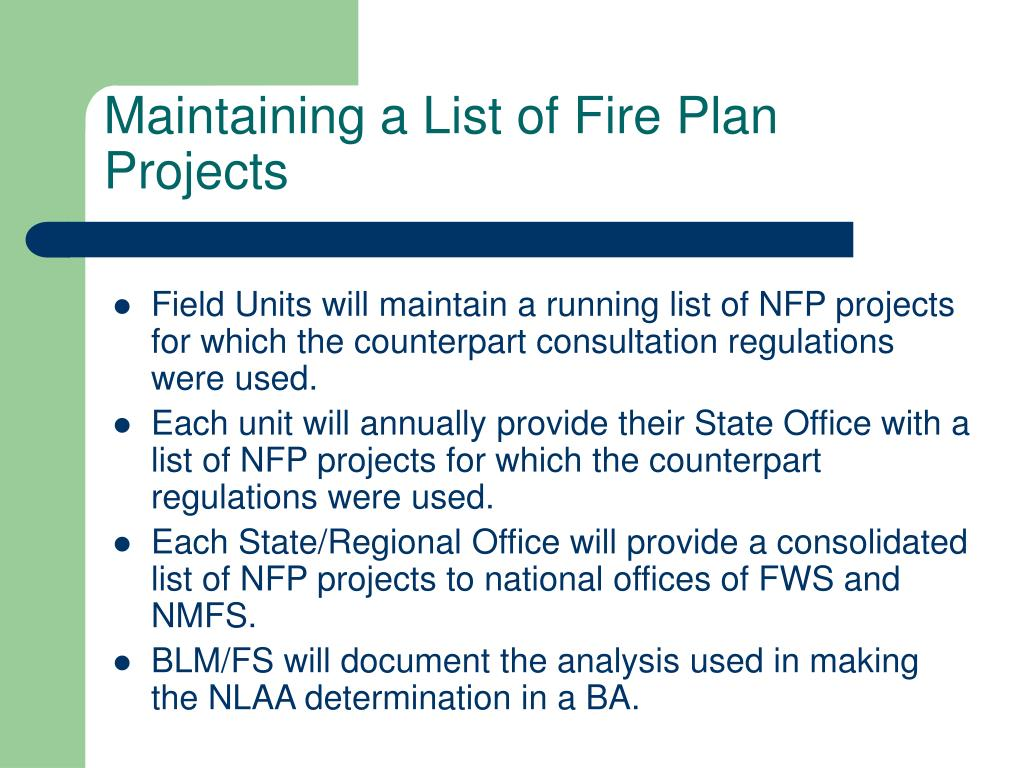 Maintaining a List of Fire Plan Projects