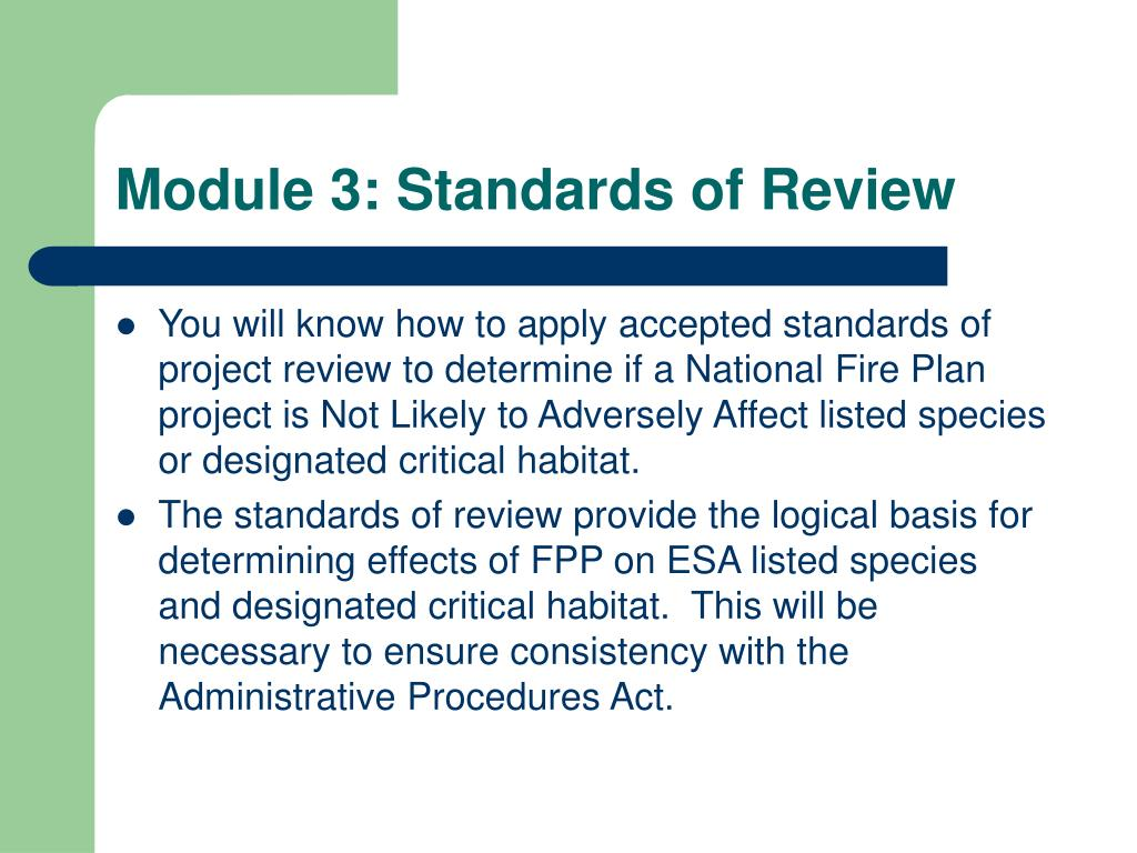 Module 3: Standards of Review