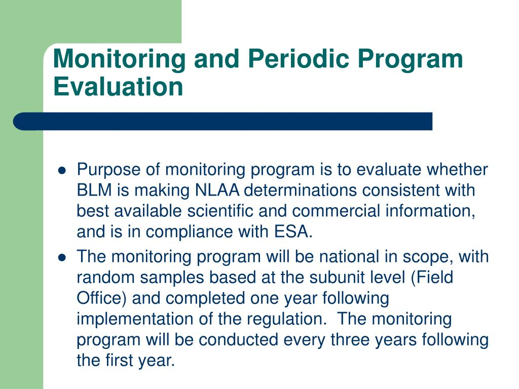 Monitoring and Periodic Program Evaluation