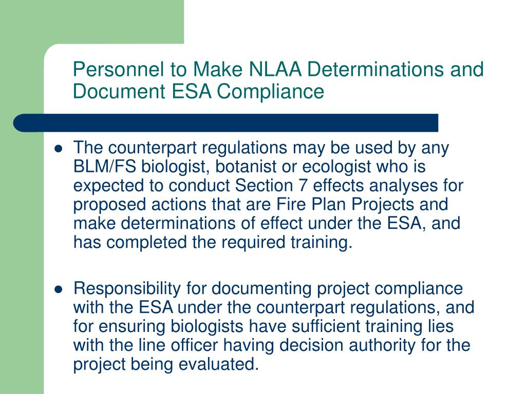 Personnel to Make NLAA Determinations and Document ESA Compliance