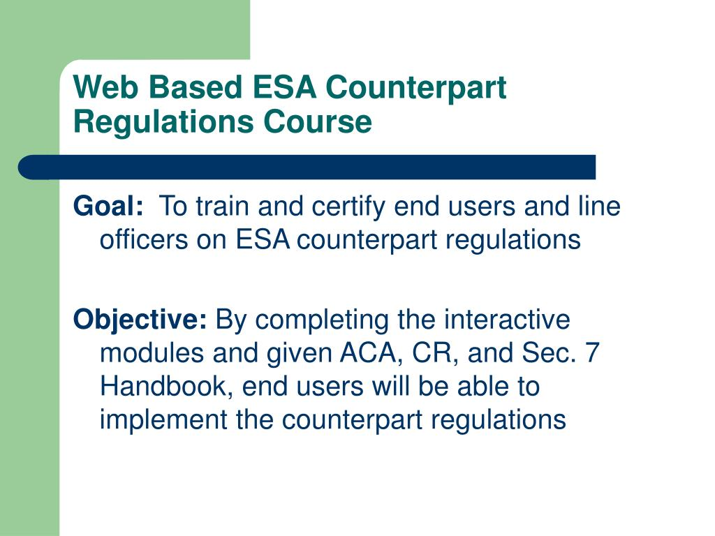 Web Based ESA Counterpart Regulations Course