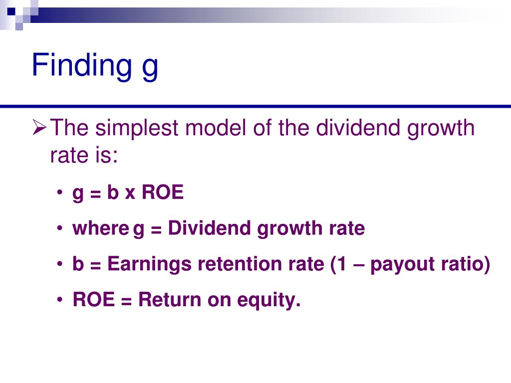 Finding g