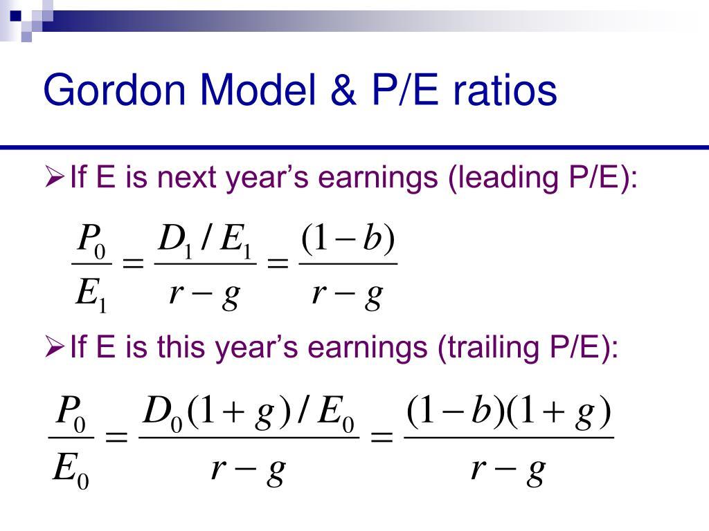 Gordon Model & P/E ratios