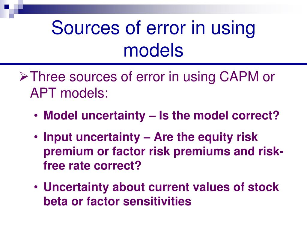 Sources of error in using models