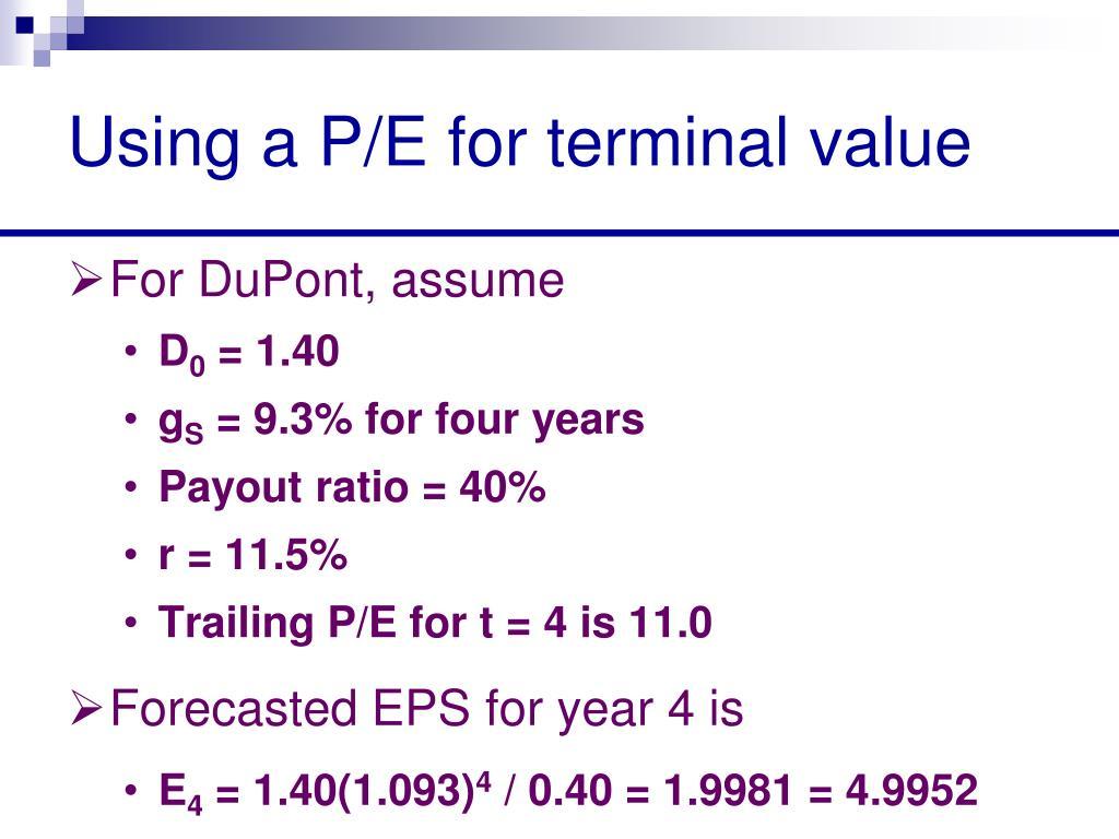 Using a P/E for terminal value