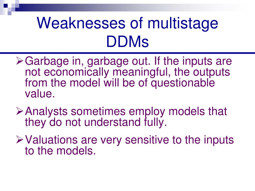 Weaknesses of multistage DDMs