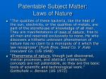 patentable subject matter laws of nature