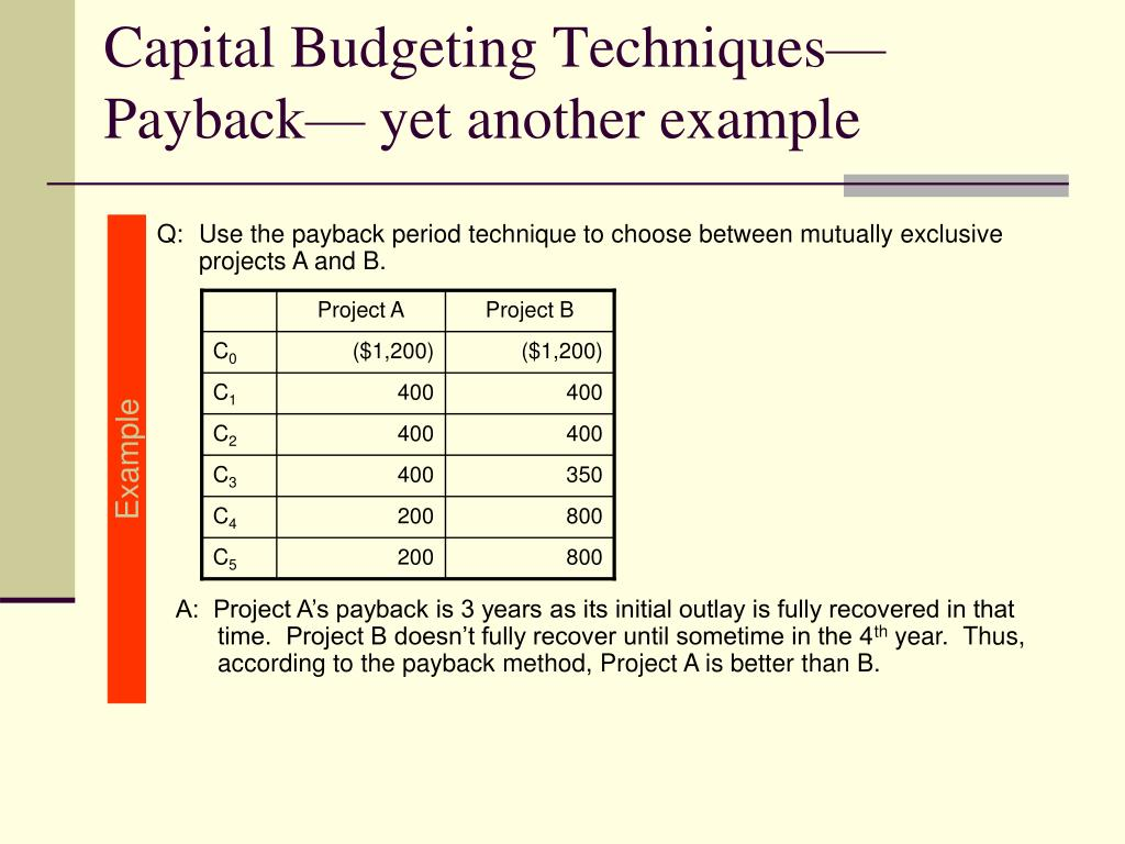Q:Use the payback period technique to choose between mutually exclusive projects A and B.
