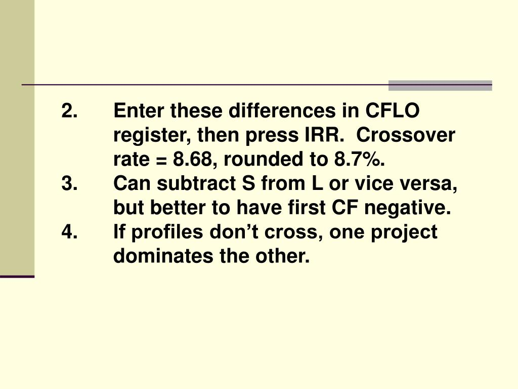 2.Enter these differences in CFLO