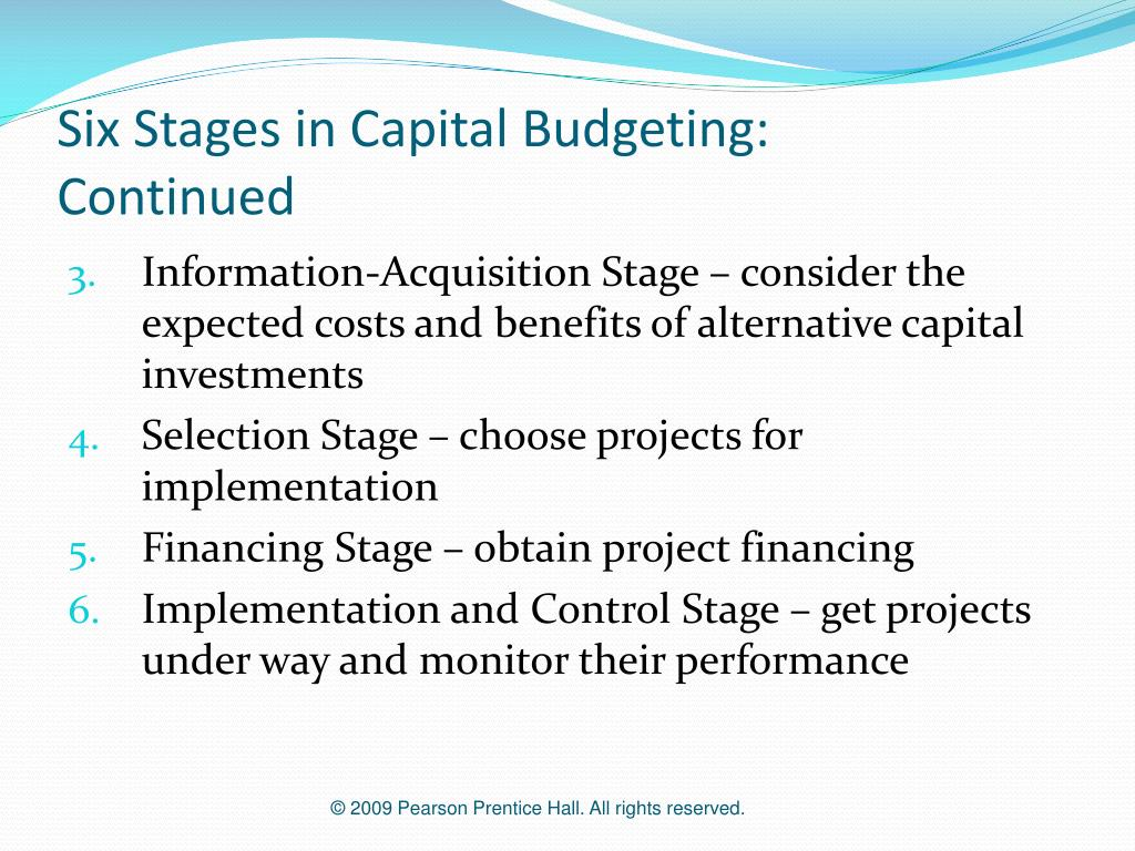 Six Stages in Capital Budgeting: