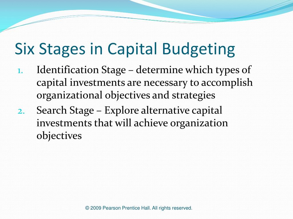 phases of capital budgeting Mini case: 10 - 1 chapter 10 the basics of capital budgeting: evaluating cash flows answers to selected end-of-chapter questions 10-1 a capital budgeting is the.