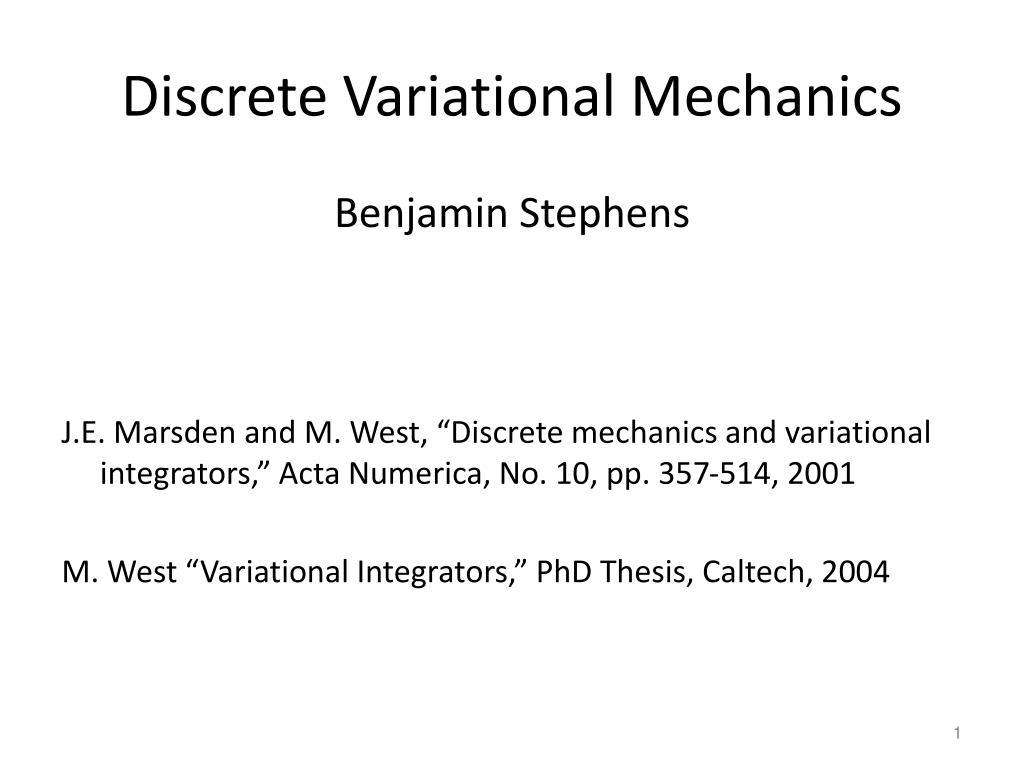 Discrete Variational Mechanics