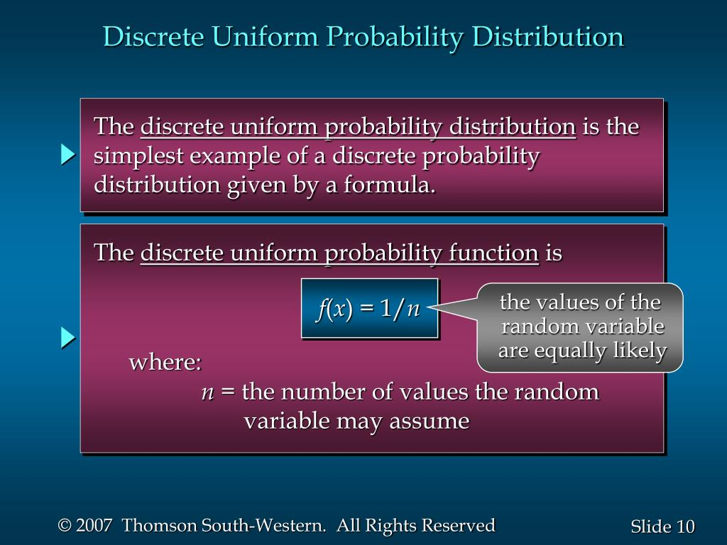 Discrete Uniform Probability Distribution