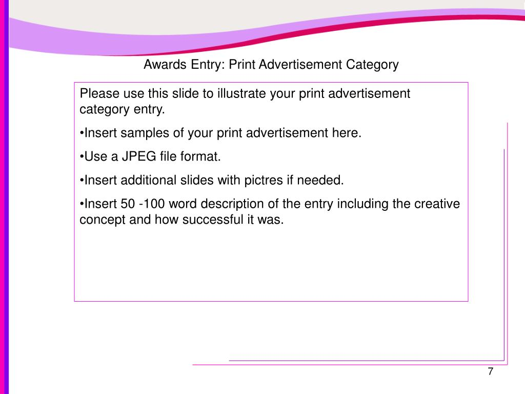 Awards Entry: Print Advertisement Category