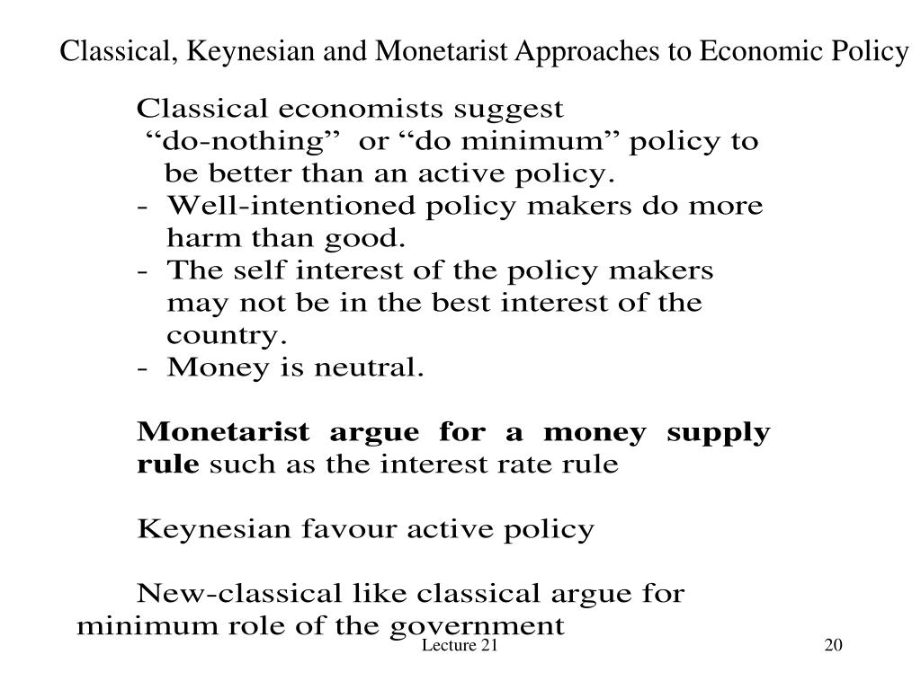 Classical, Keynesian and Monetarist Approaches to Economic Policy