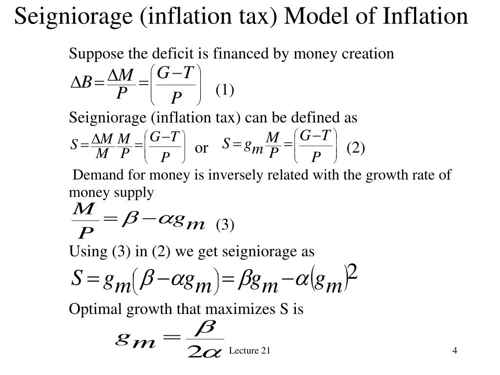 Seigniorage (inflation tax) Model of Inflation