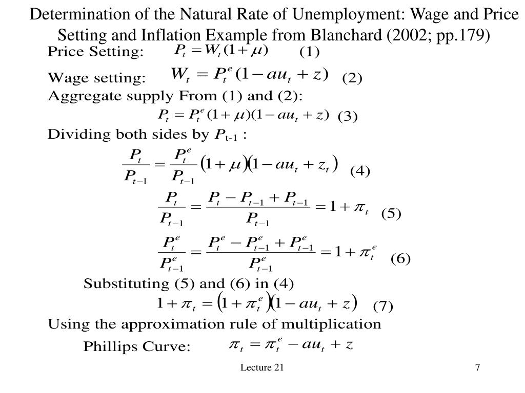 Determination of the Natural Rate of Unemployment: Wage and Price Setting and Inflation Example from Blanchard (2002; pp.179)