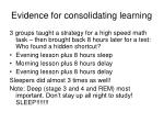 evidence for consolidating learning