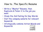 how to the specific resume