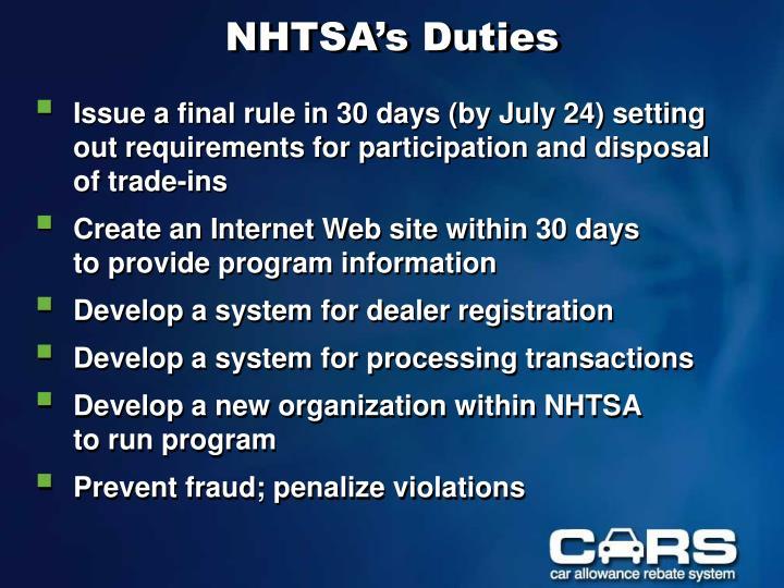 Nhtsa s duties