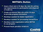 nhtsa s duties