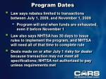 program dates