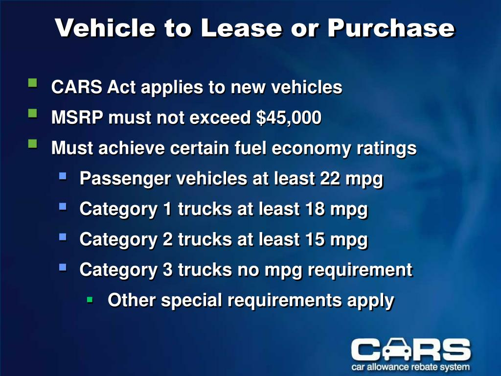 Vehicle to Lease or Purchase
