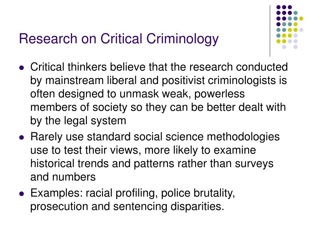 Research on Critical Criminology