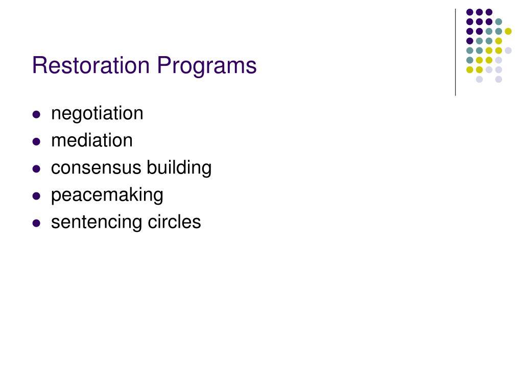 Restoration Programs