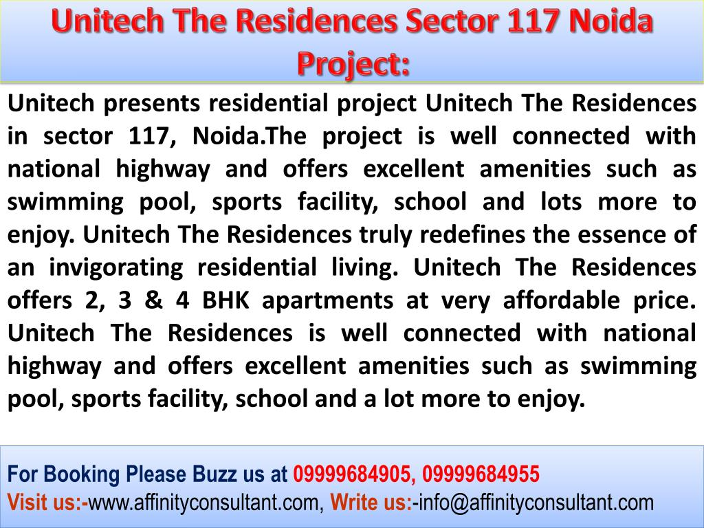 Unitech The Residences Sector 117 Noida Project: