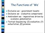 the functions of we