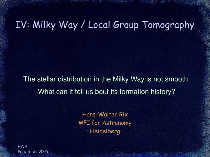 Iv milky way local group tomography