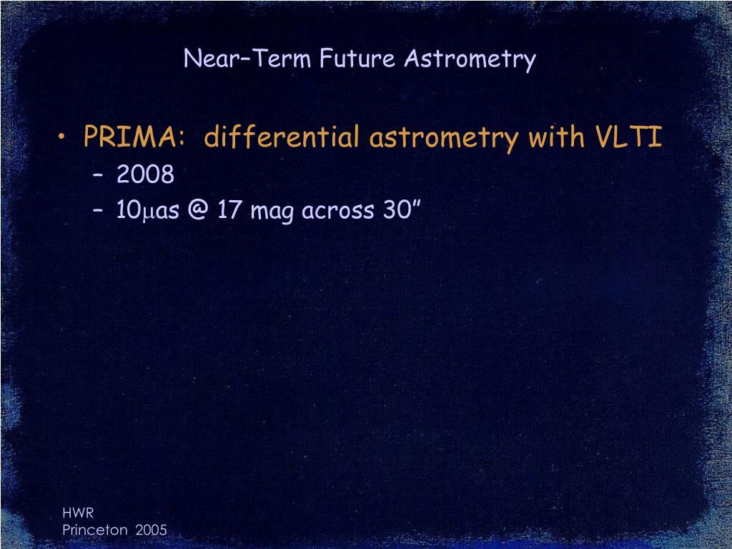 Near–Term Future Astrometry