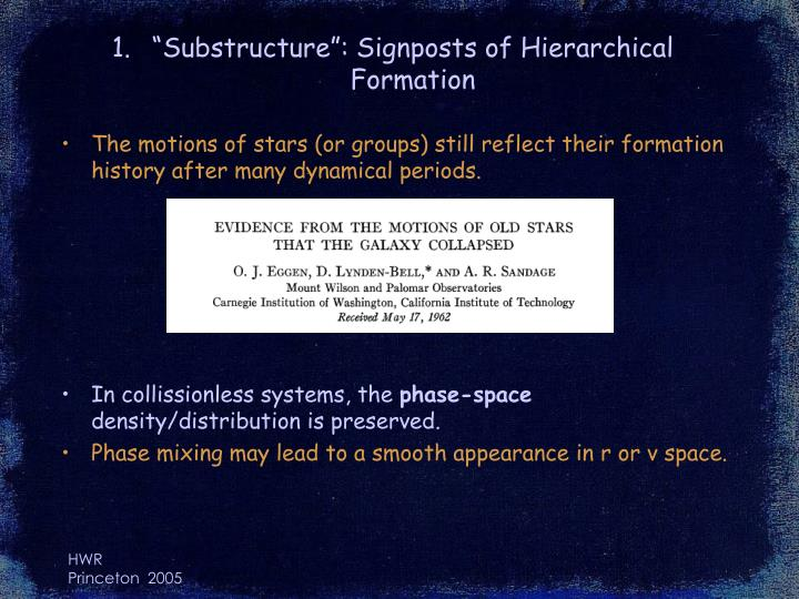 Substructure signposts of hierarchical formation