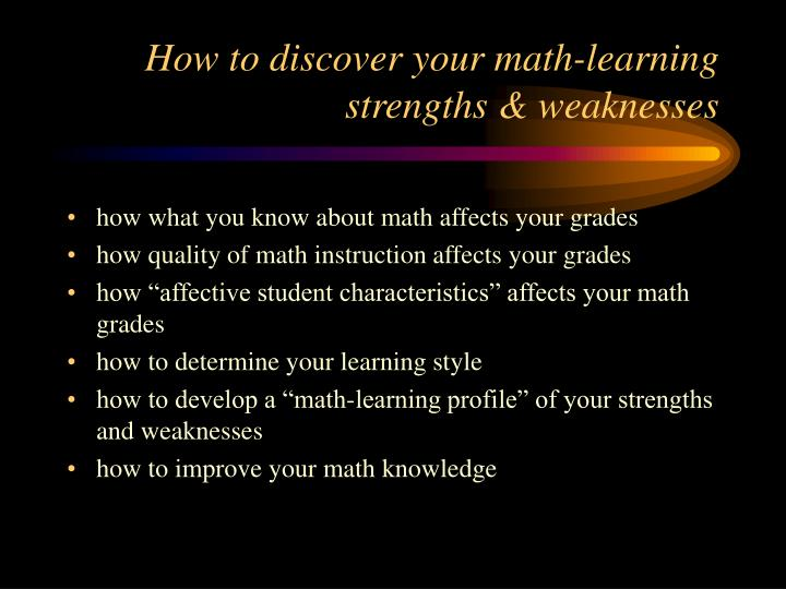 How to discover your math learning strengths weaknesses