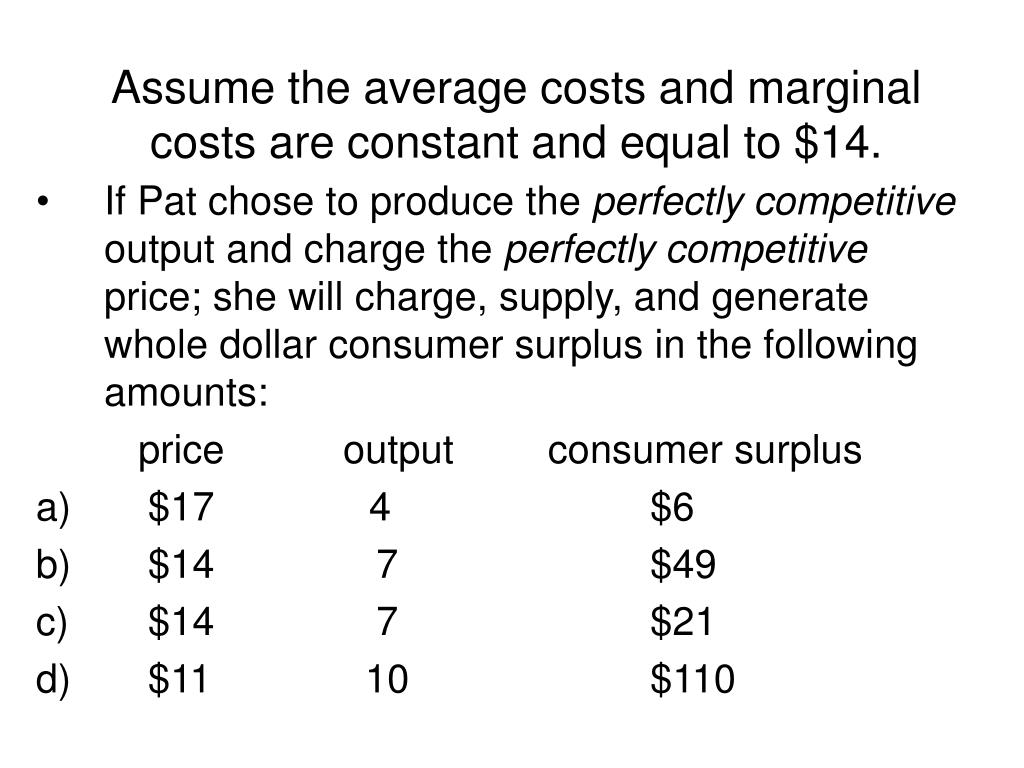 Assume the average costs and marginal costs are constant and equal to $14.