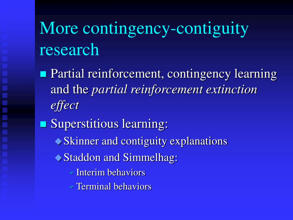 More contingency-contiguity research