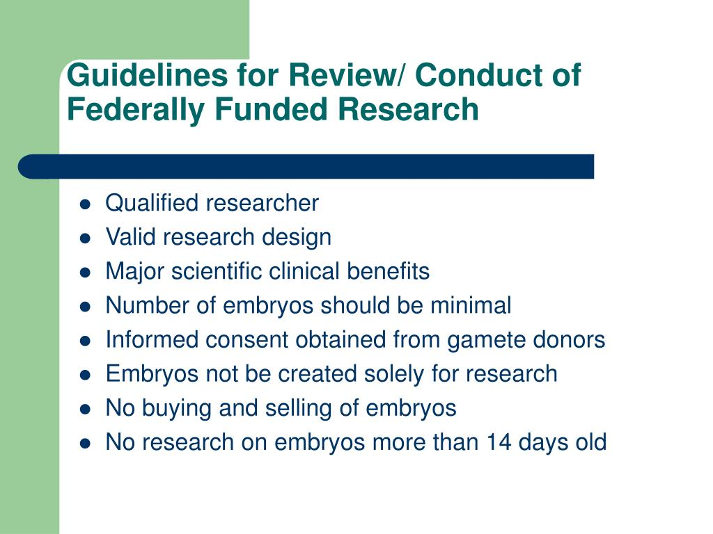 Guidelines for Review/ Conduct of Federally Funded Research