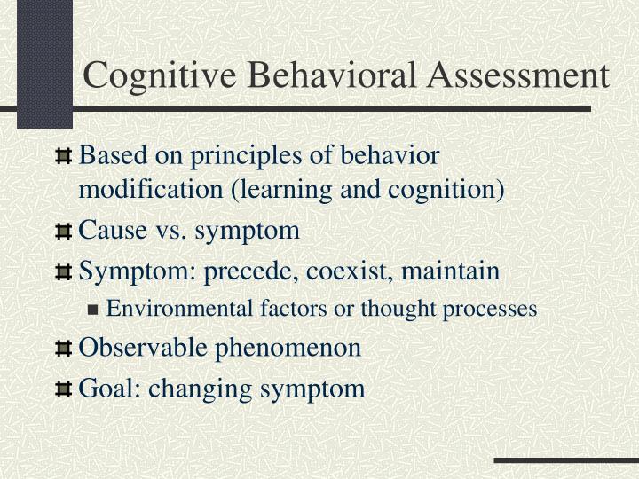 Cognitive behavioral assessment